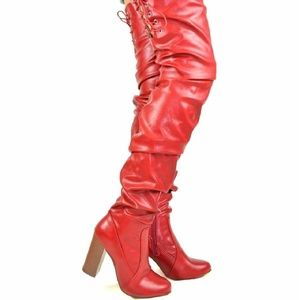 Red Trendy Slouch Over The Knee Boot With Chunk He